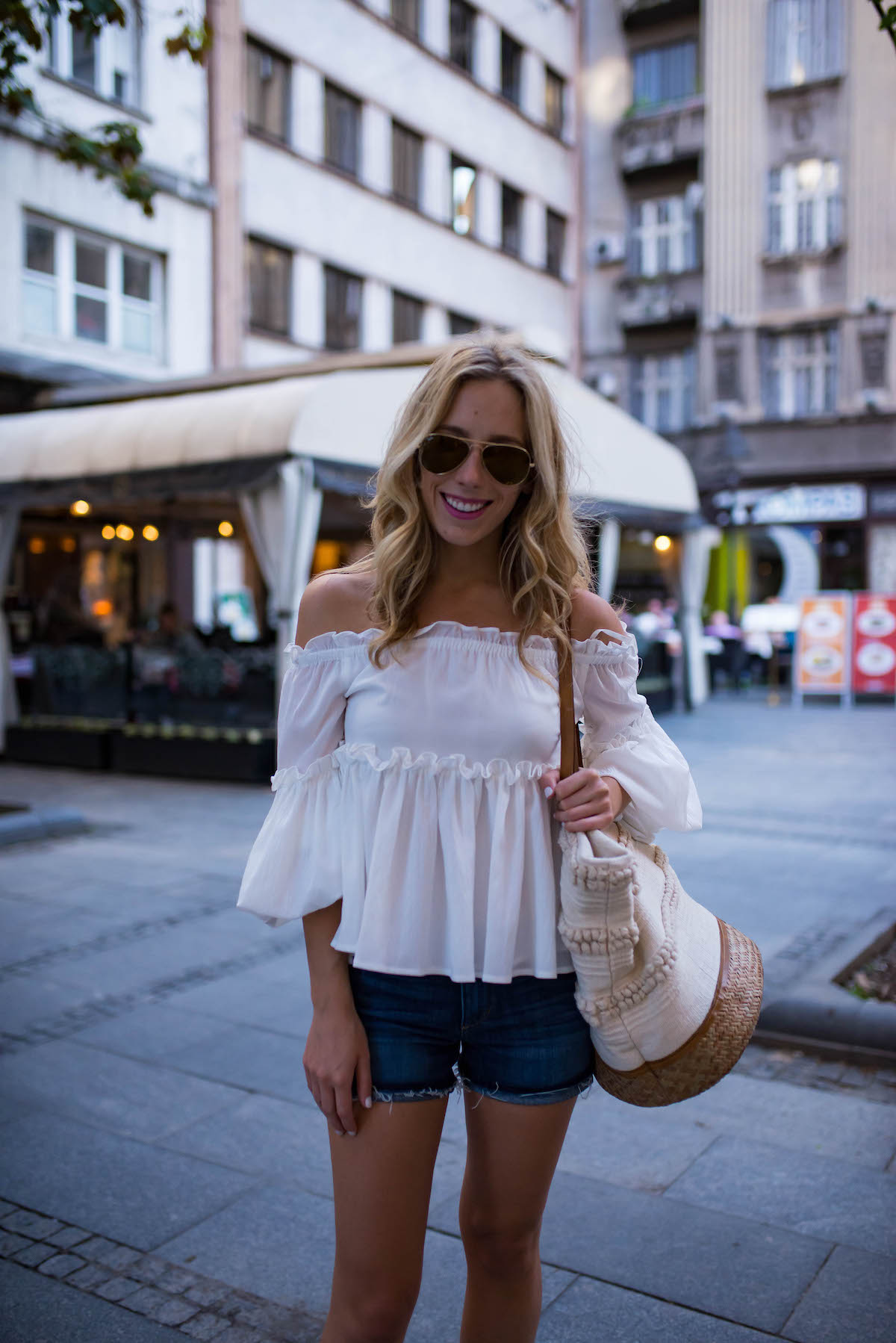 White Ruffle Off The Shoulder Top
