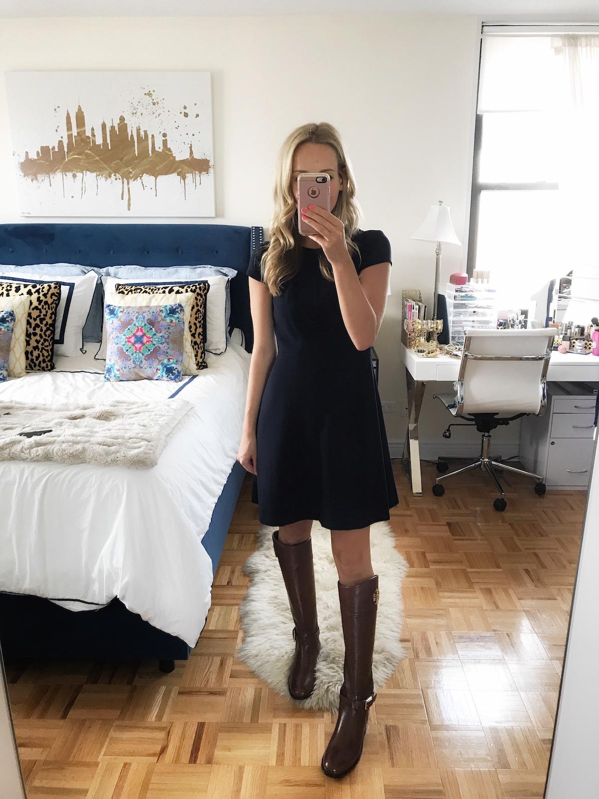 Eliza J Crepe Fit Flare Dress