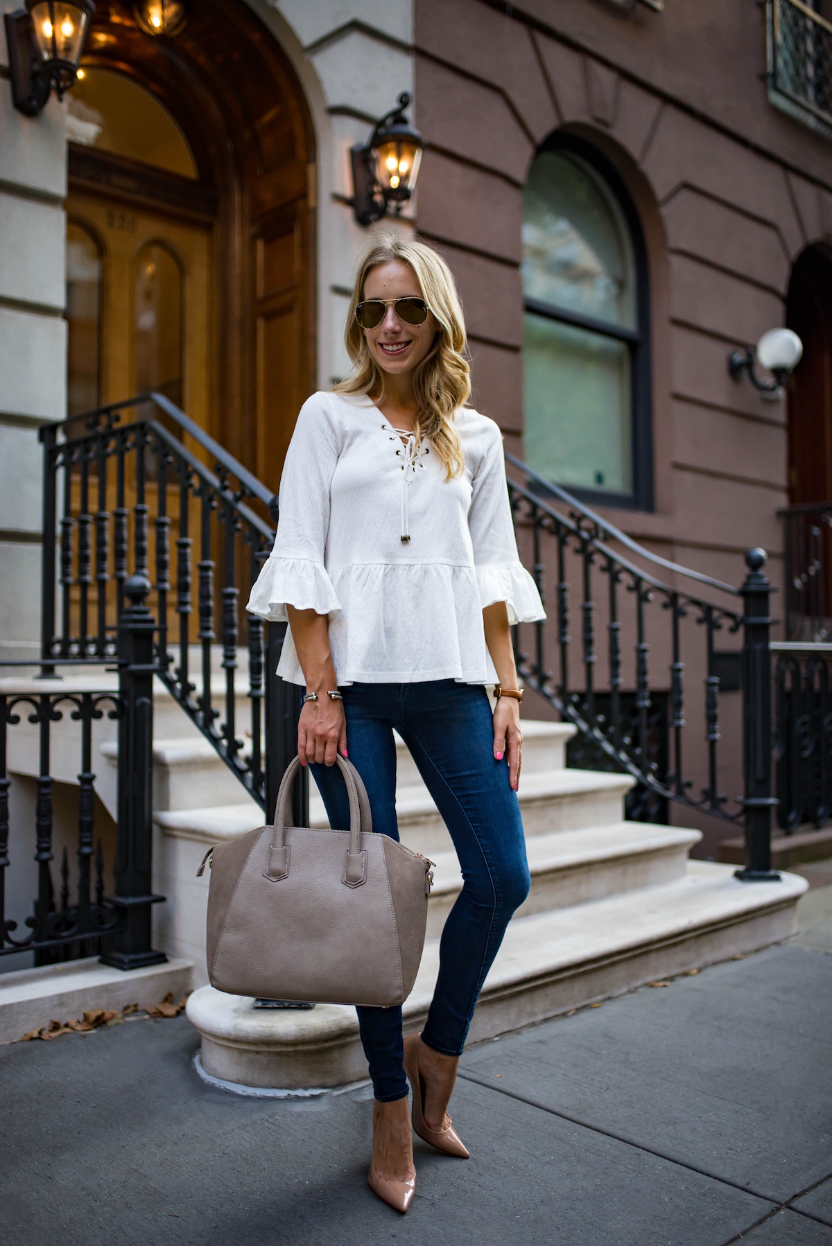 White Bell Sleeve Ruffle Top