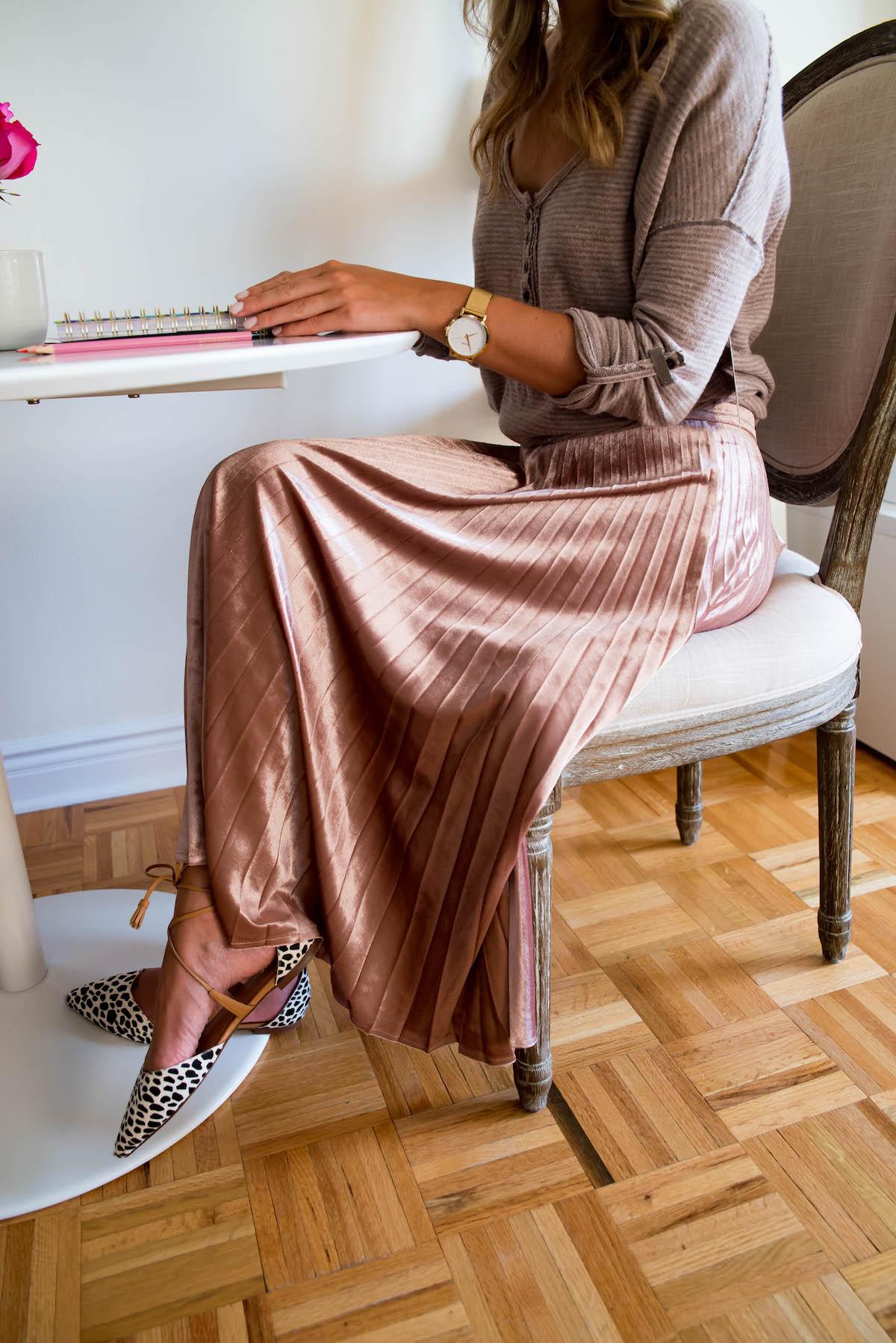 Rose Gold Pleated Midi Skirt