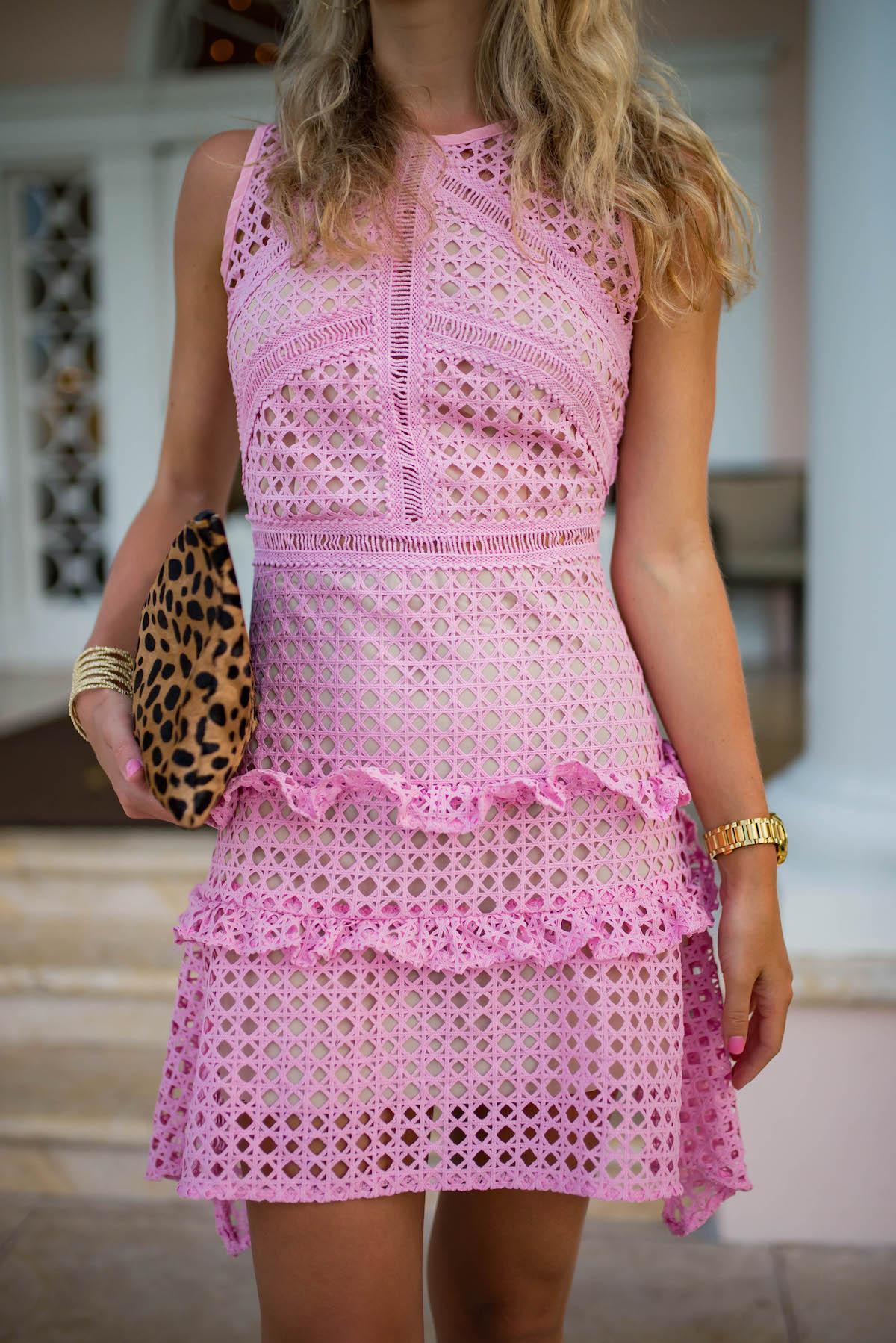 Pink Lace Crochet Sleeveless Dress