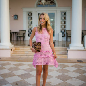 Pink Lace Crochet Sleeveless Dress