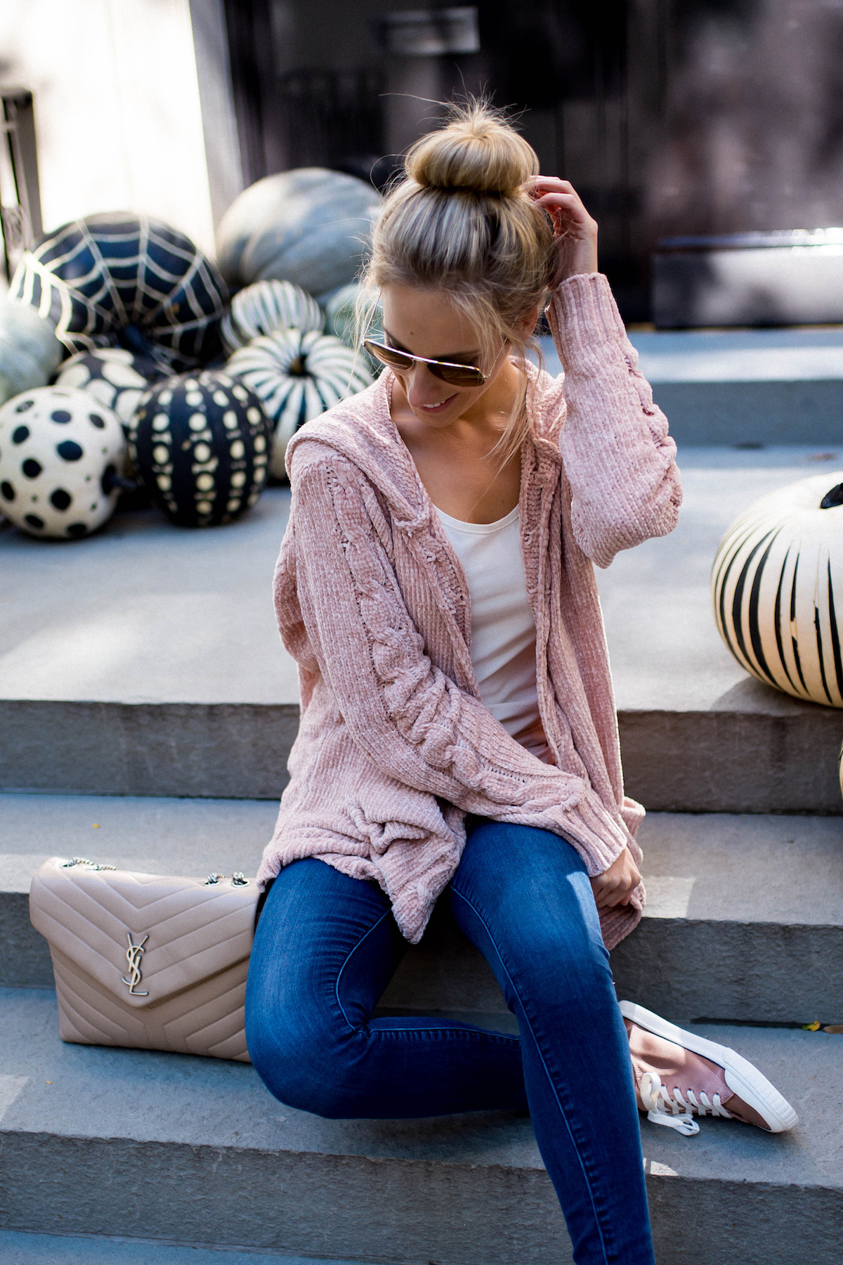 Fuzzy Pink Chenille Hooded Cardigan