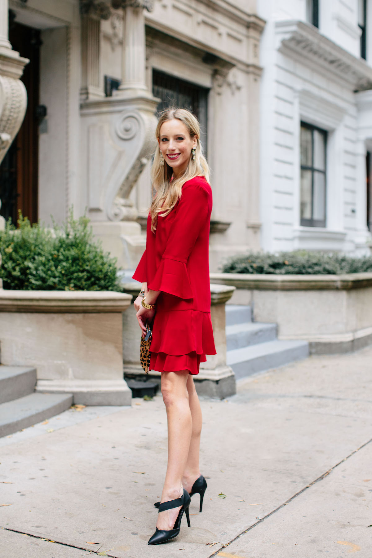 Cece Red Ruffle Shift Dress