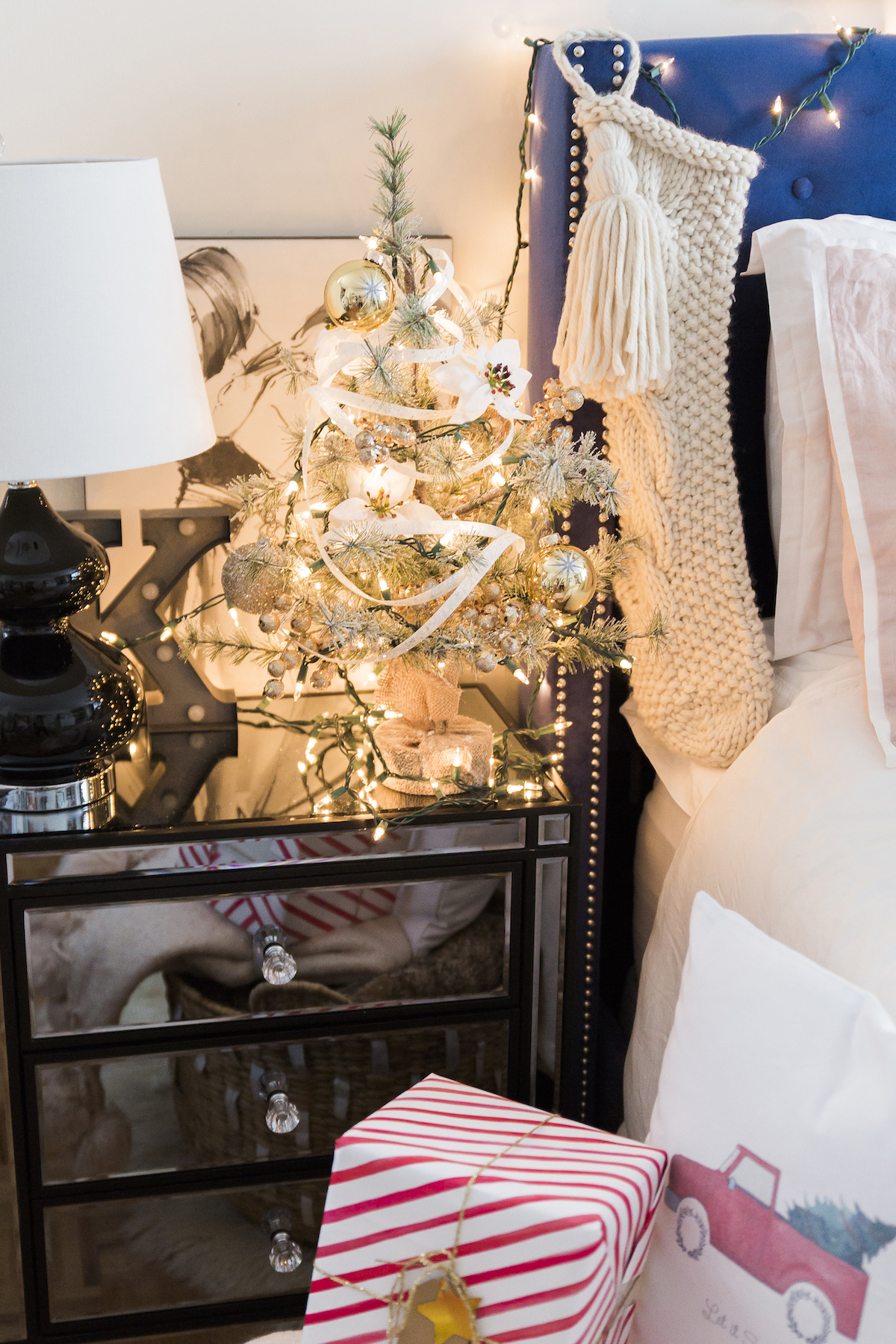 Cozy Bedside Table Christmas Tree
