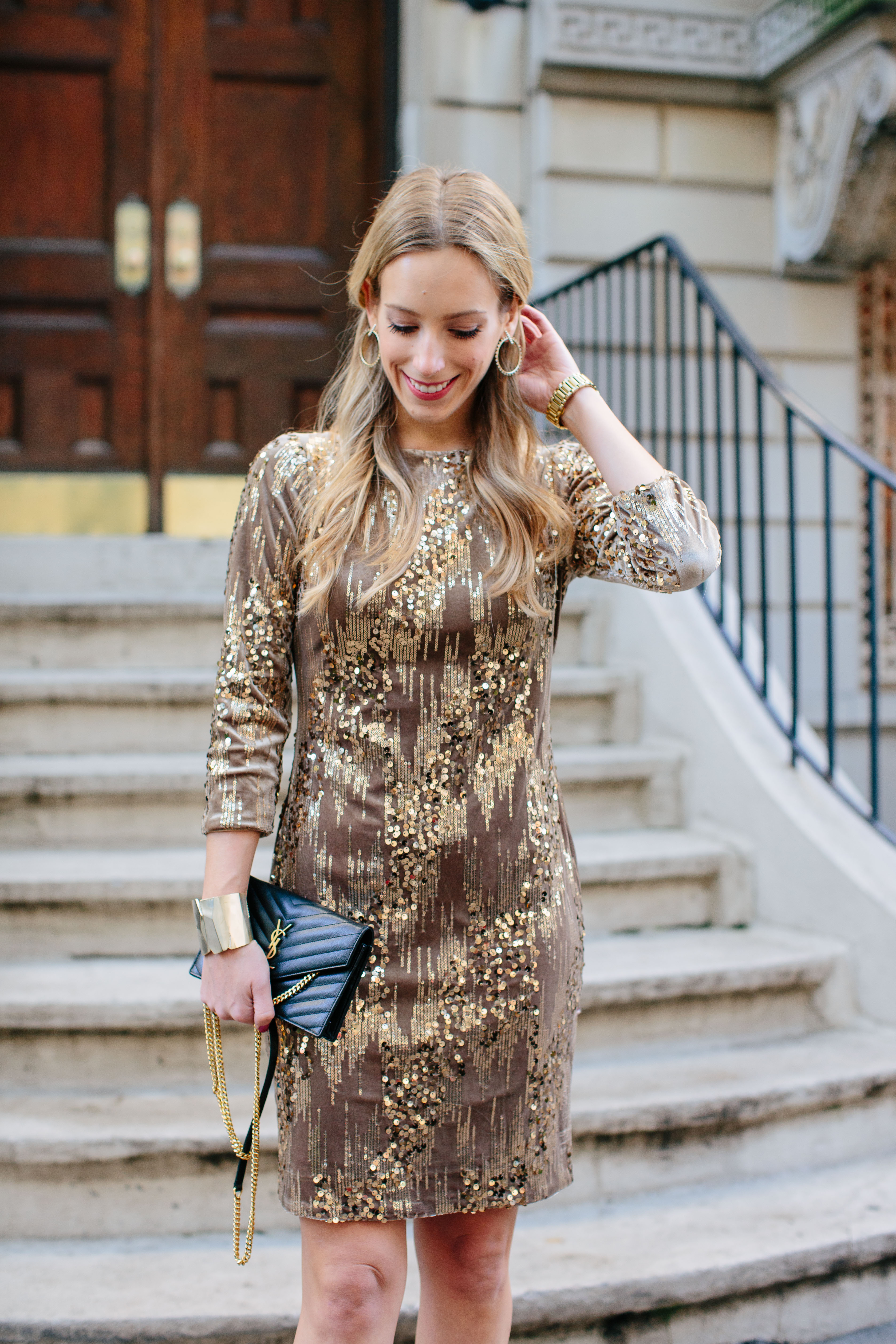 Eliza J Sequin & Velvet Sheath Dress
