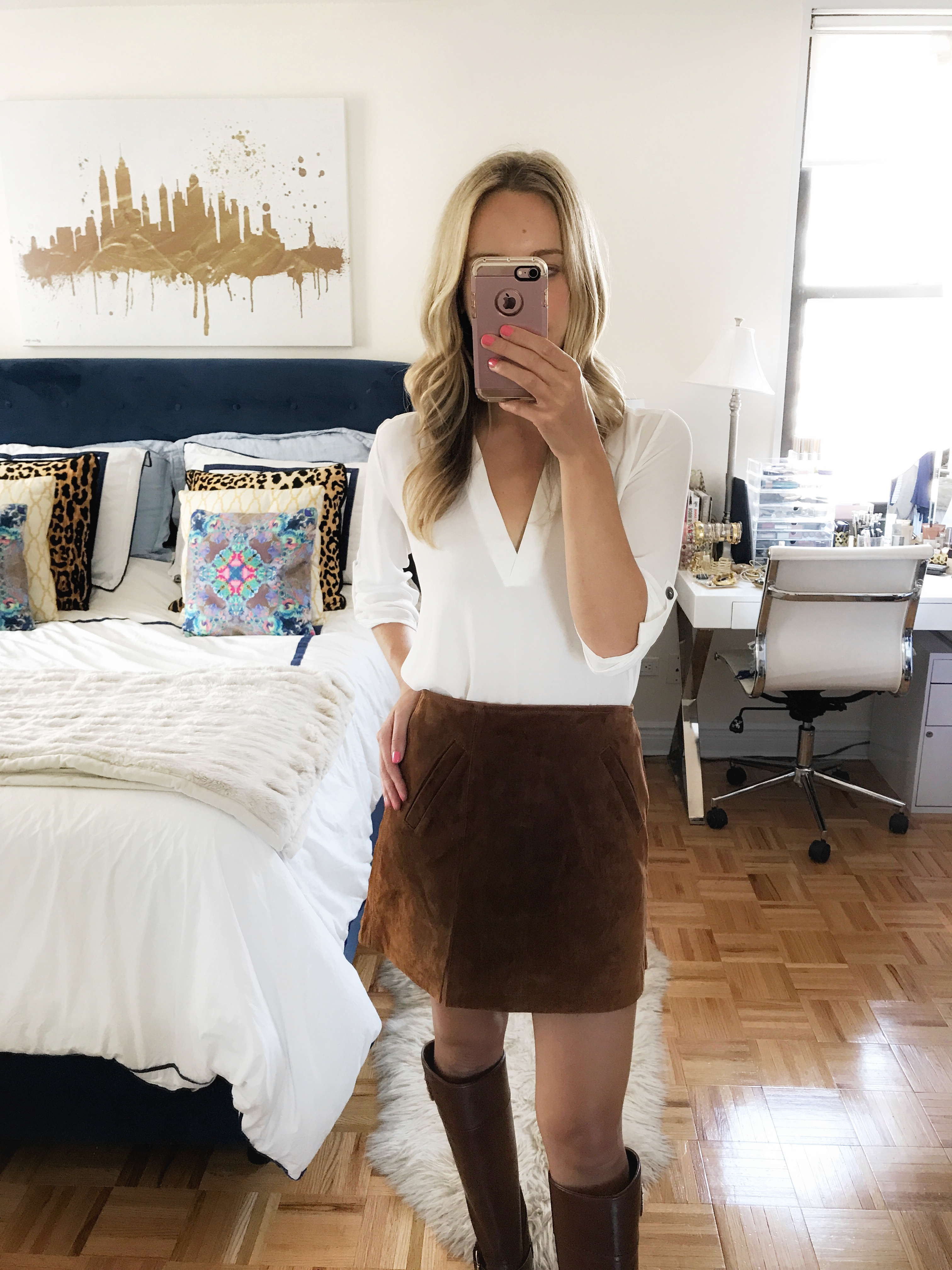 White Blouse & Suede Mini Skirt