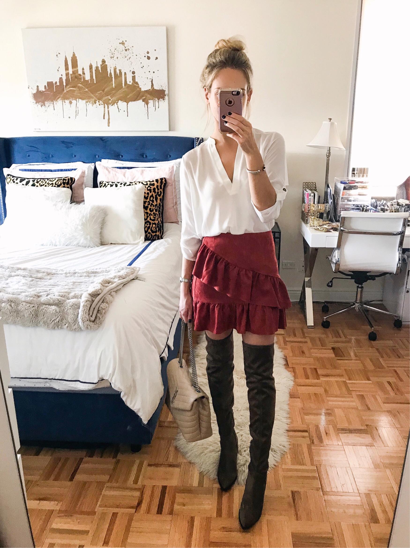 White Blouse & Ruffle Mini Skirt