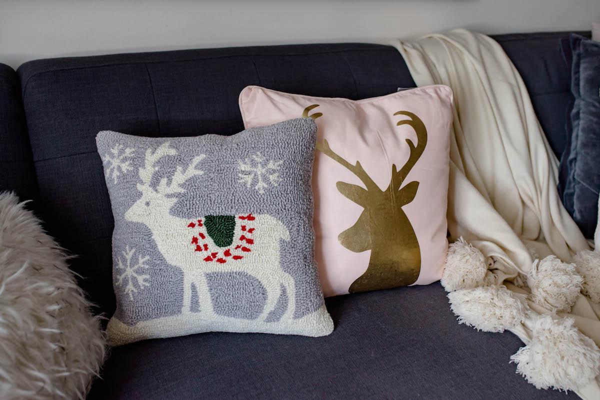 Reindeer Holiday Throw Pillows