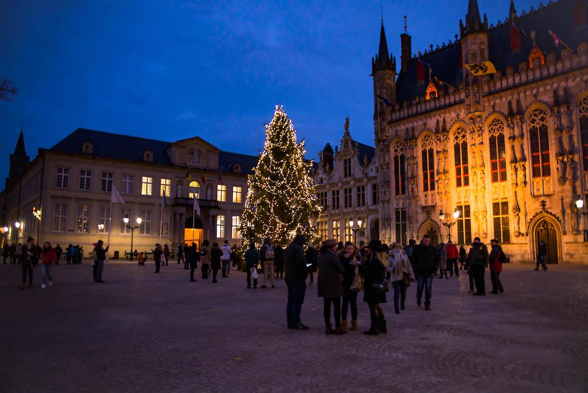 Burg Square Christmas Tree Bruges Belgium