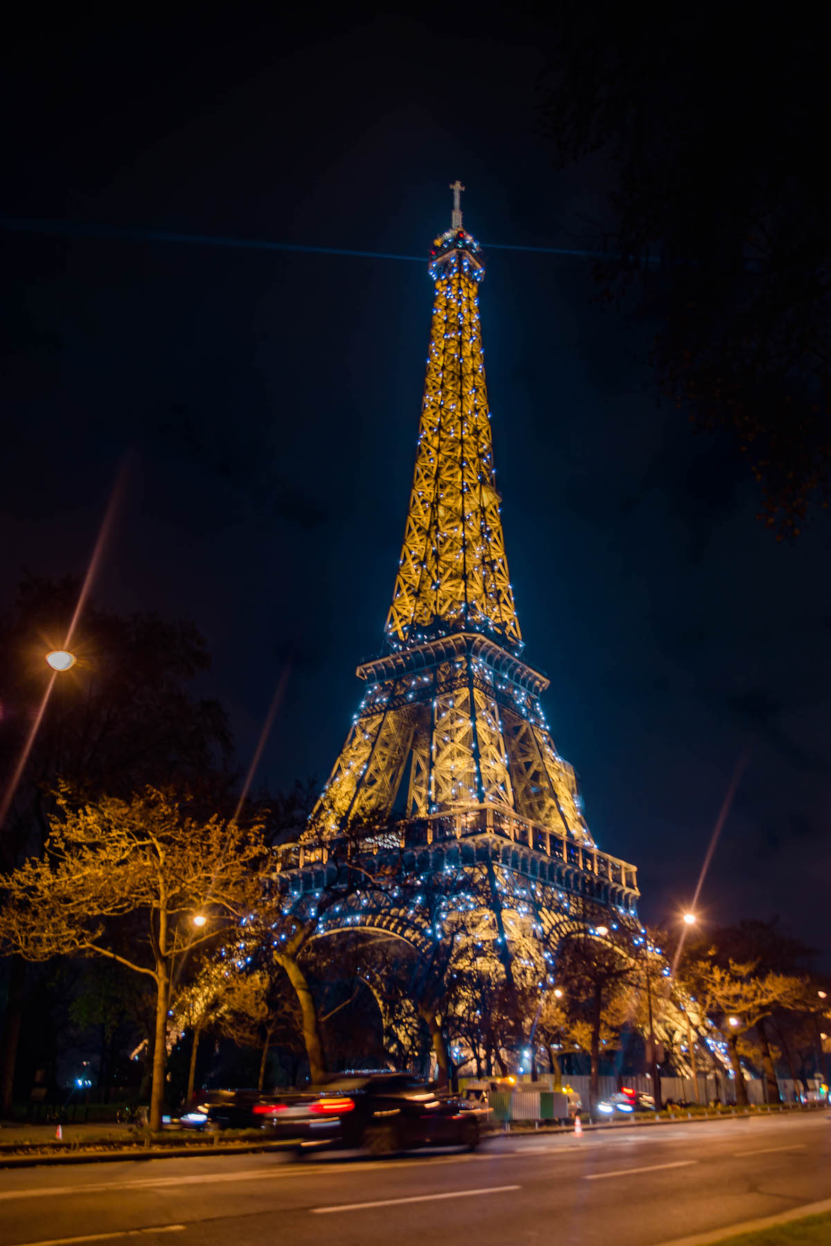 Eiffel Tower Light Show At Night