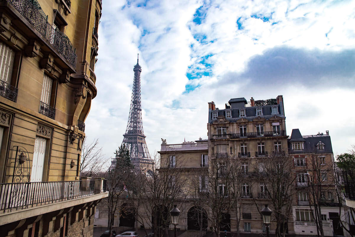 Eiffel Tower View From rue Benjamin Franklin Paris