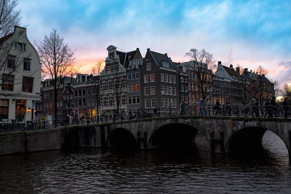 Amsterdam Canals at Sunset