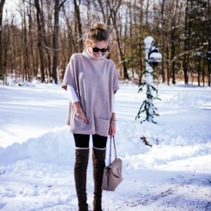 Pocket Pullover Sweater & Over The Knee Boots