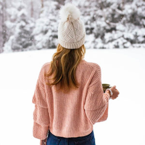 Woven Heart Ruffle Sleeve Sweater