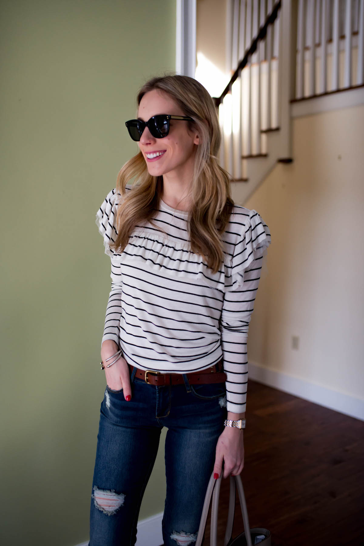 Classic Stripe Shirt & Distressed Denim