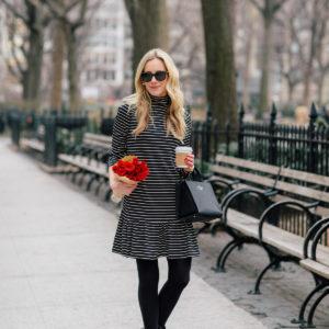 Kate Spade New York Mock Neck Stripe Knit Dress