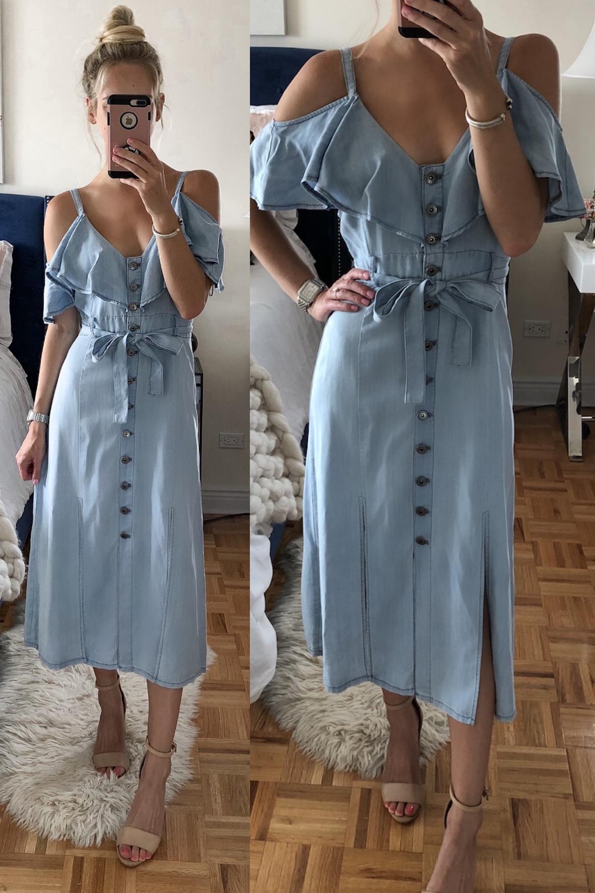 BB Dakota Caite Chambray Cold Shoulder Dress