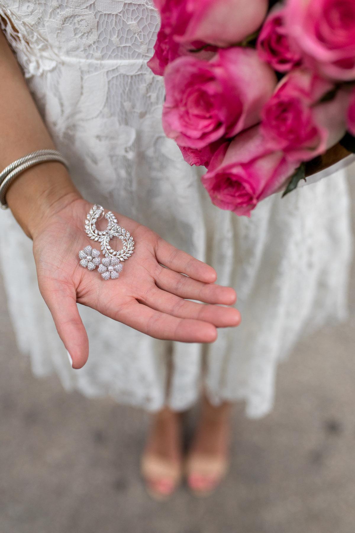 David's Bridal Crystal-Dusted Hibiscus Earrings