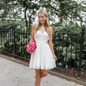 David's Bridal Lace Fit-and-Flare Dress
