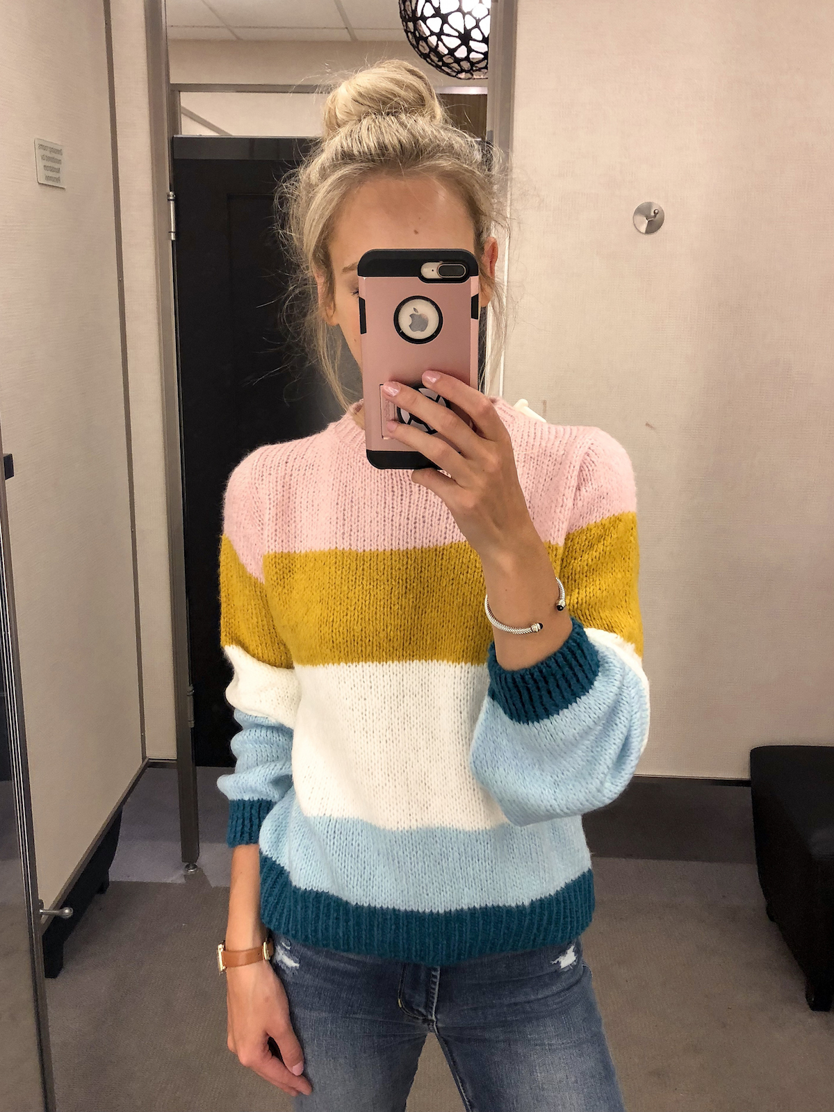 TOPSHOP Colorblock Knit Sweater