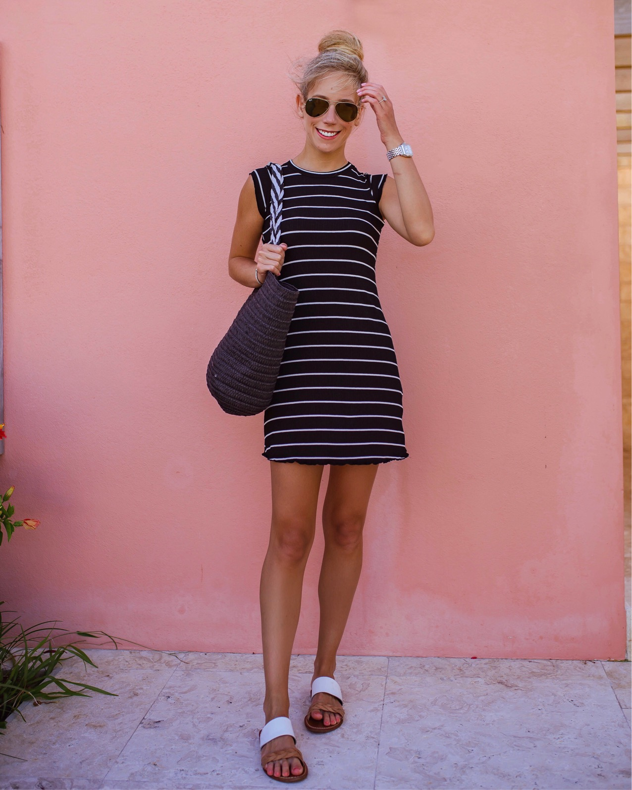 Black & White Stripe T-Shirt Dress