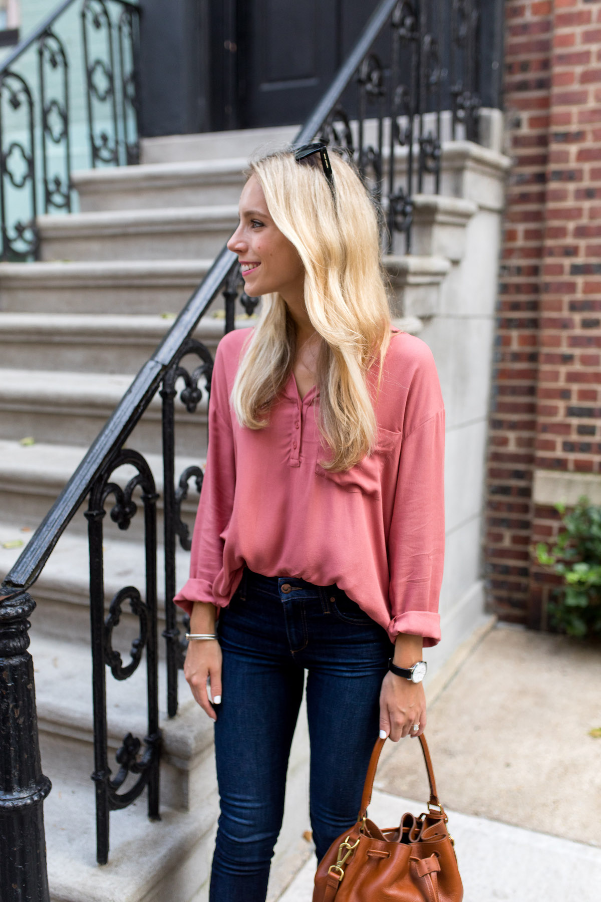 Slouchy Pocket Henley Shirt