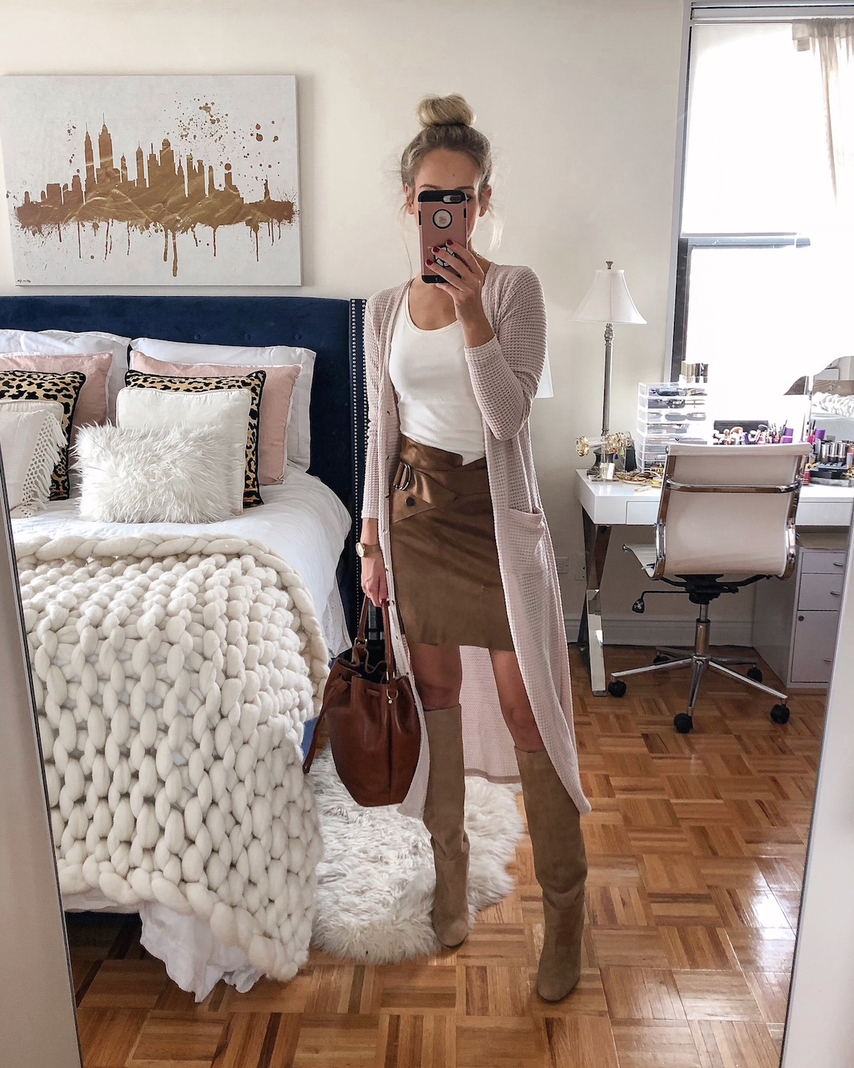 Anthropologie Waffle Knit Long Cardigan