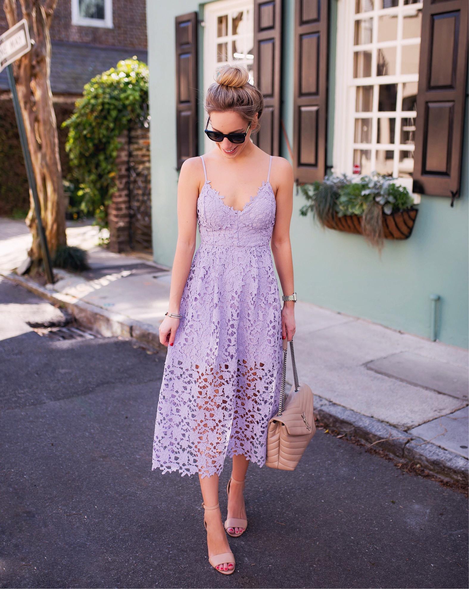 ASTR Lavender Lace Midi Dress