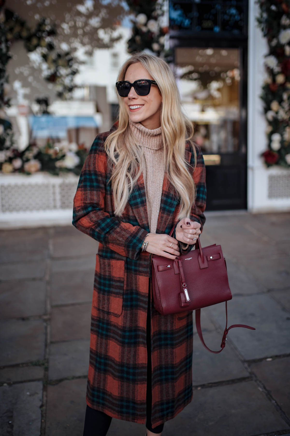 Leith Red Plaid Coat
