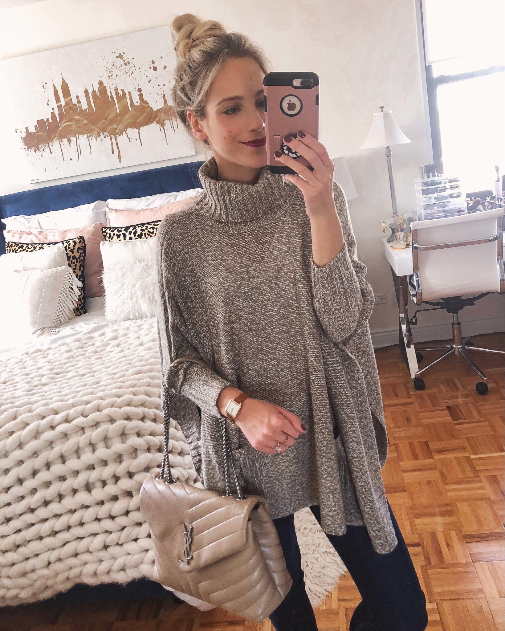Knit Grey Poncho