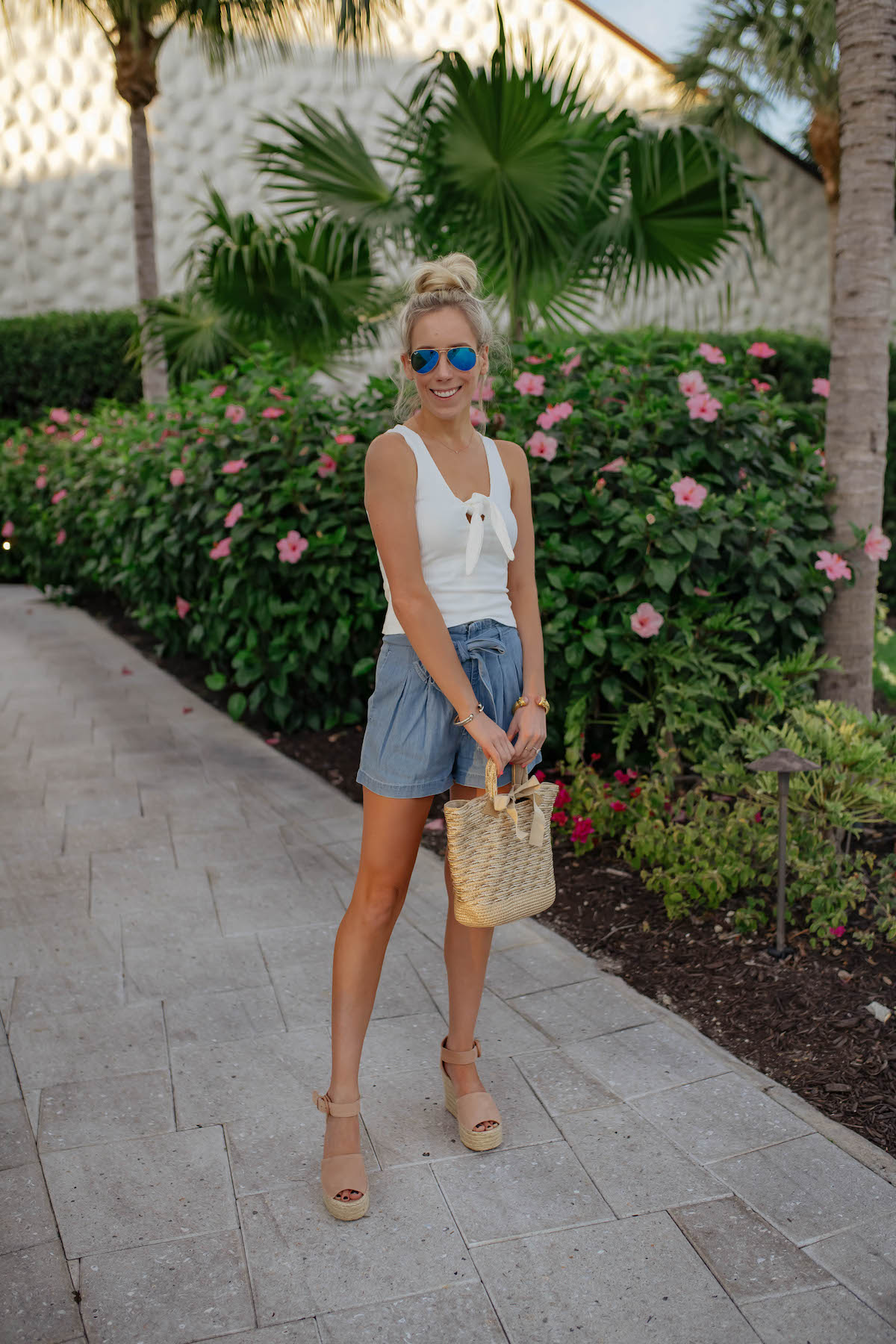 Abercrombie Belted Chambray Shorts
