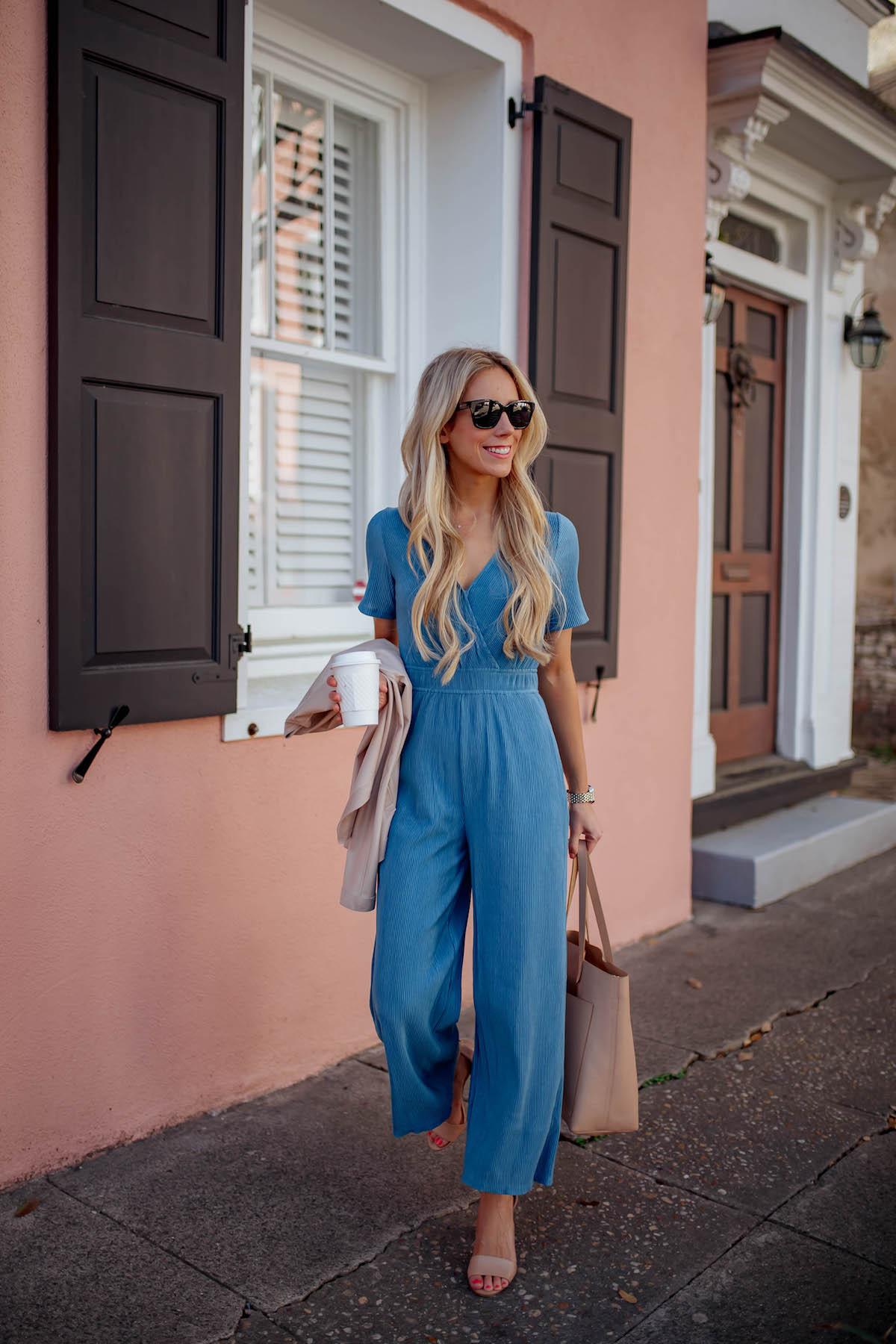 Blue Wrap Front Jumpsuit