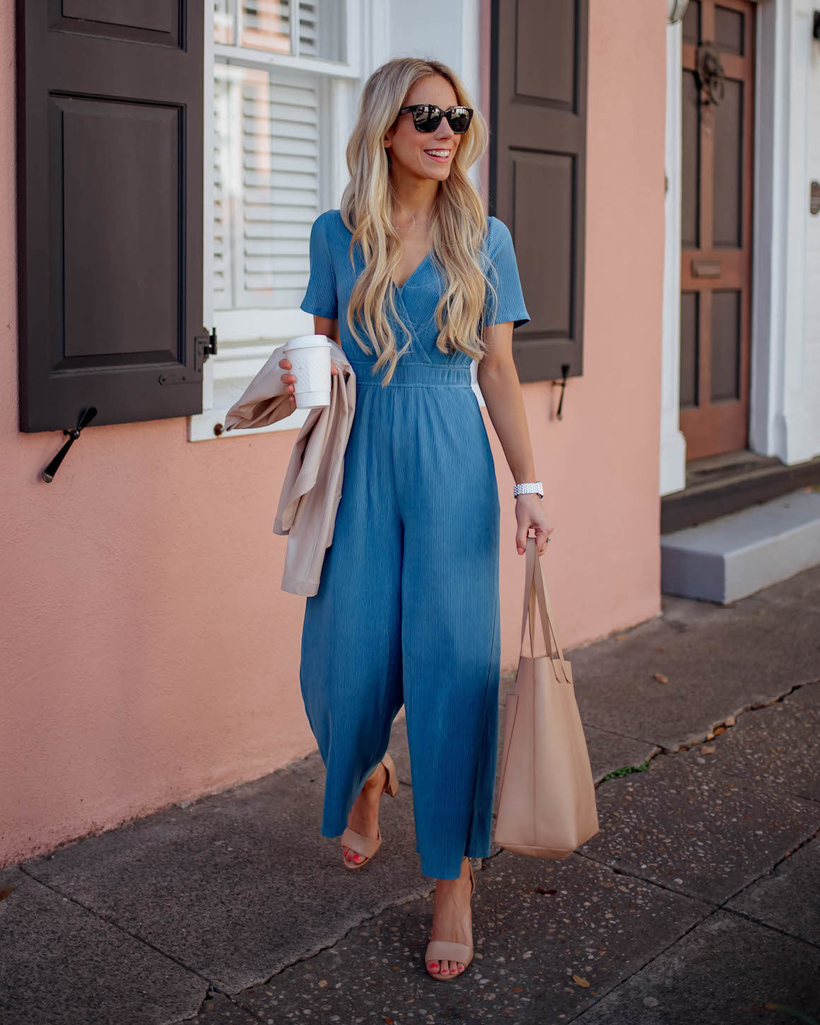 Blue Wrap Front Jumpsuit