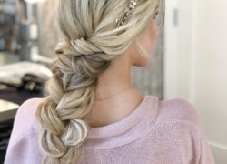 Wedding Hair Long Braid With Crystal Headband