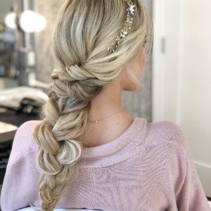 Wedding Hair Long Braid With Crystal Headband