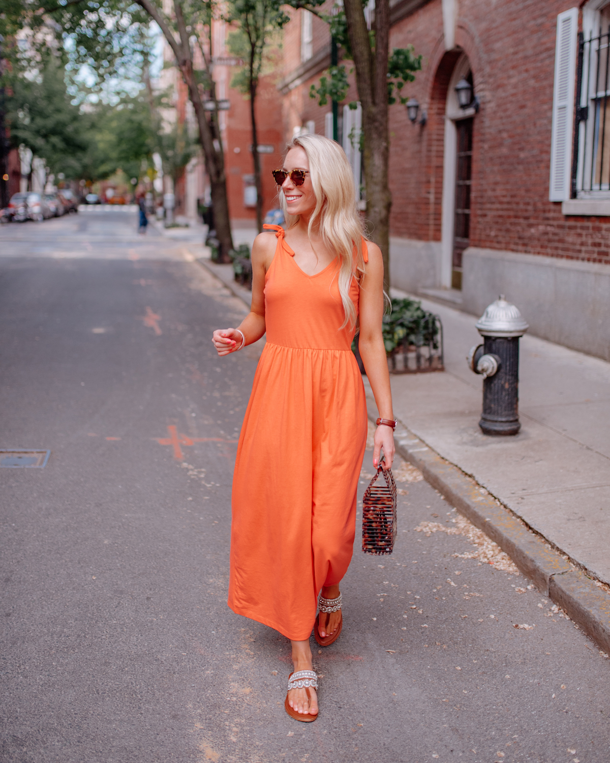 Vero Moda Peach Tie Shoulder Maxi Dress