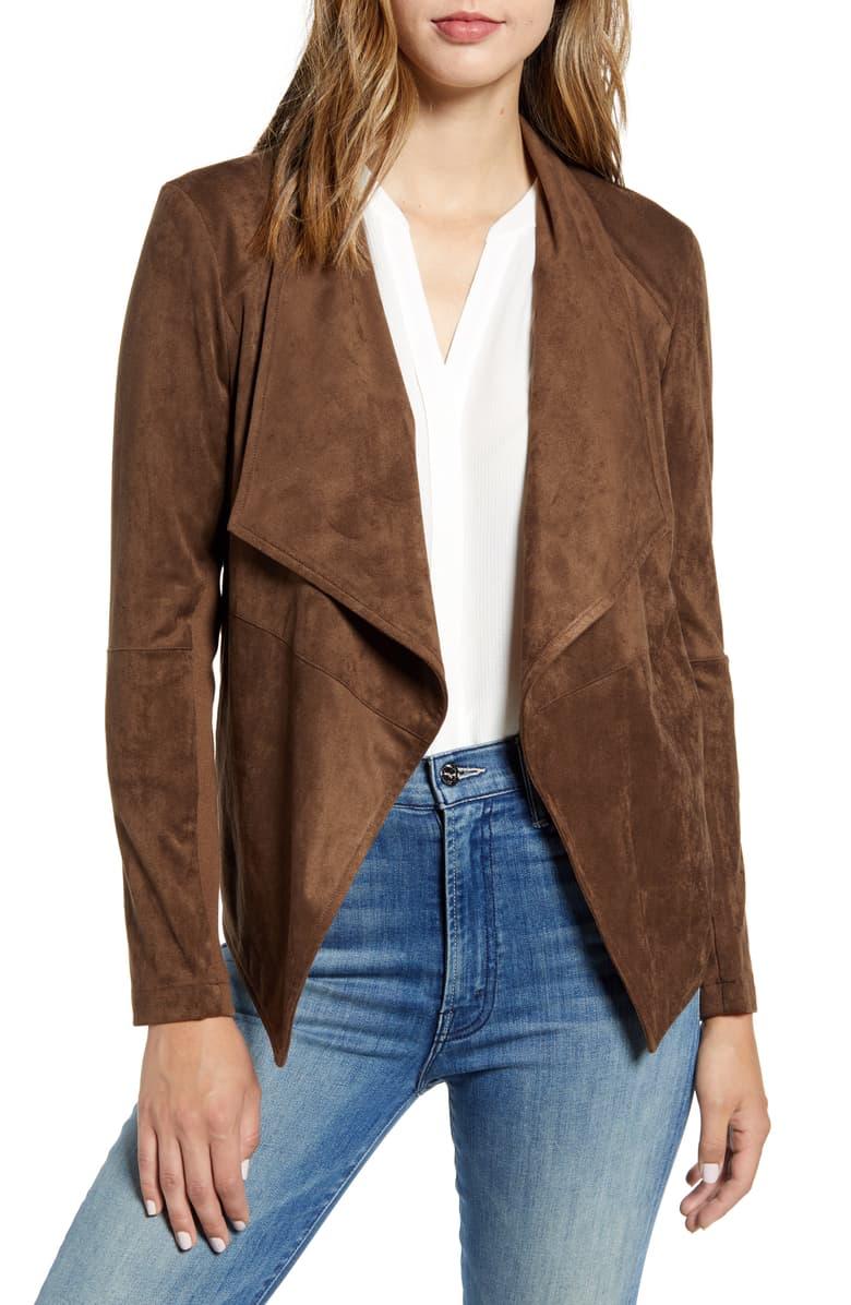 BB Dakota Drape Front Faux Suede Jacket