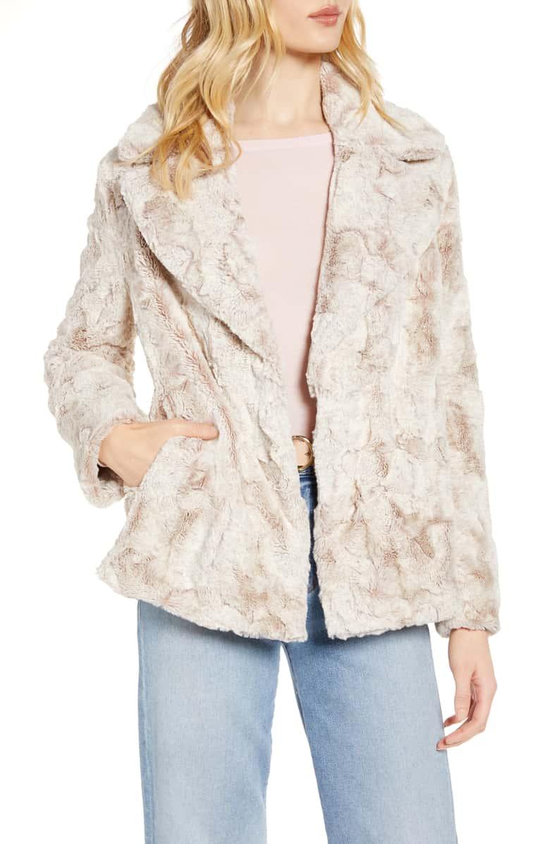 HALOGEN Textured Faux Fur Coat