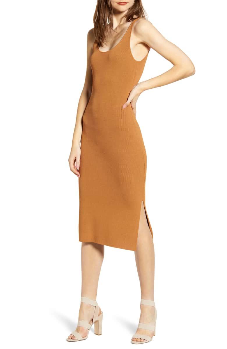 Leith Wide Strap Sleeveless Midi Sweater Dress