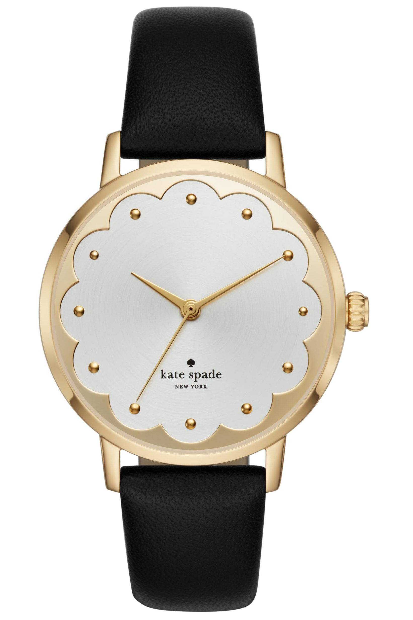 kate spade metro scallop leather strap watch