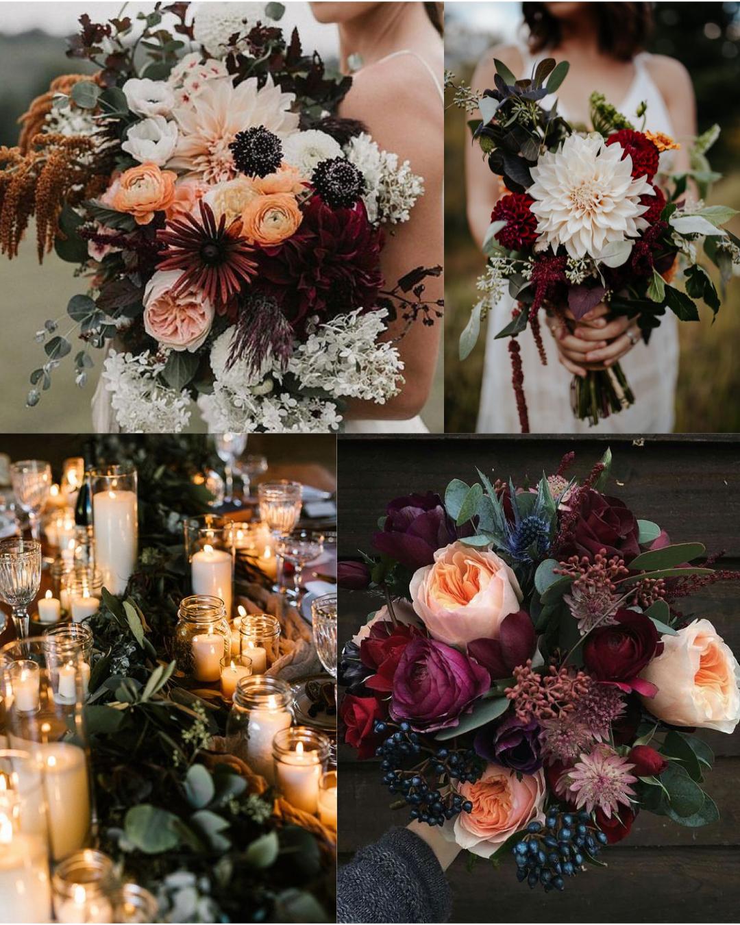 Moody Fall Wedding Flowers