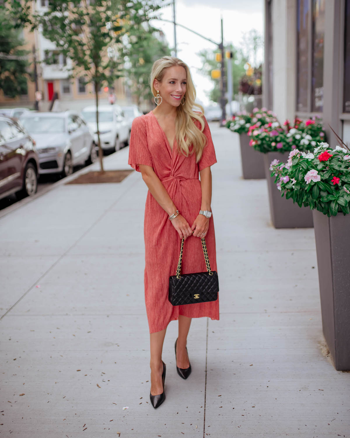 Red Plissé Midi Dress