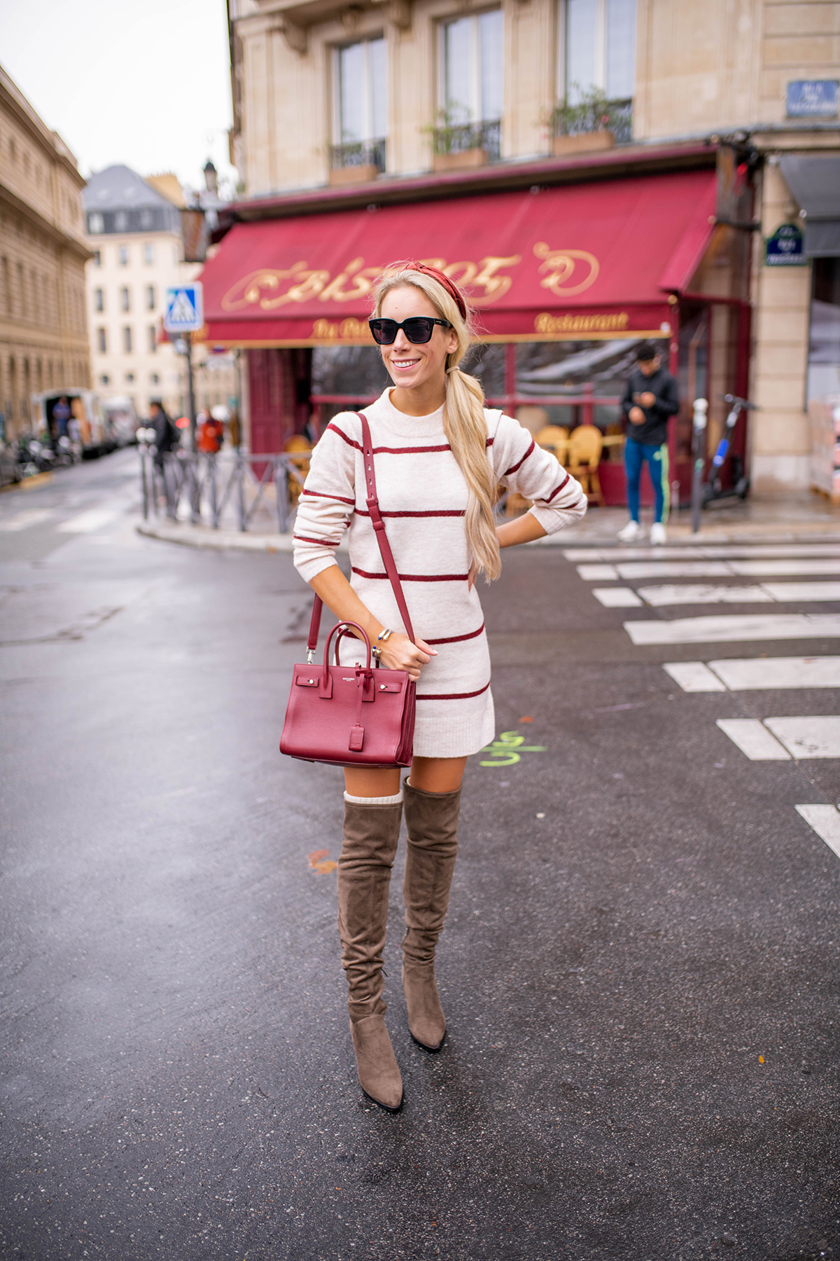 Sweater Dress and High Knee Boots