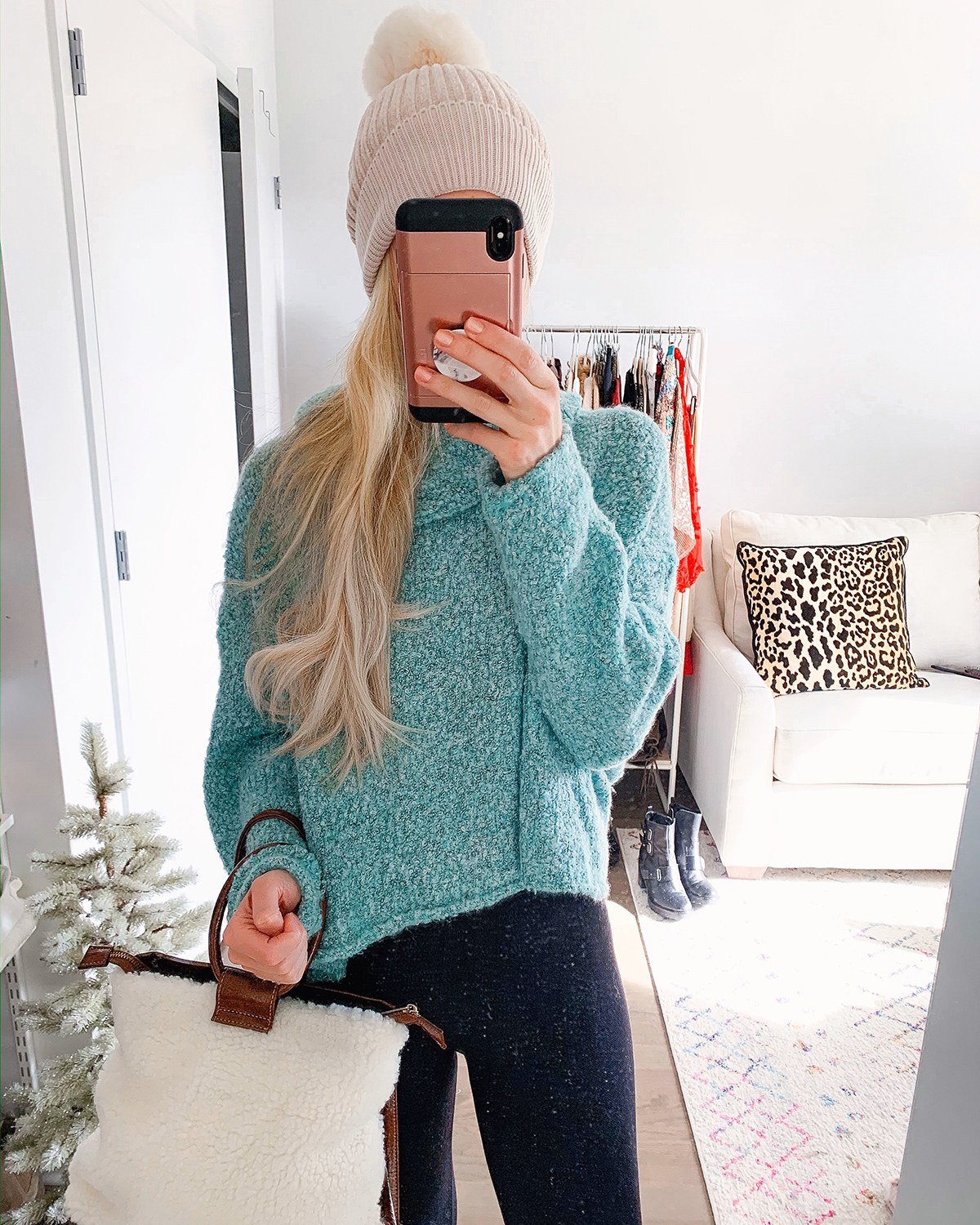 Blue Cowl Neck Sweater