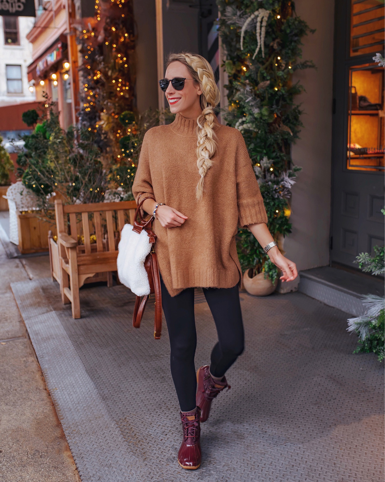 Express Poncho and Sperry Duck Boots