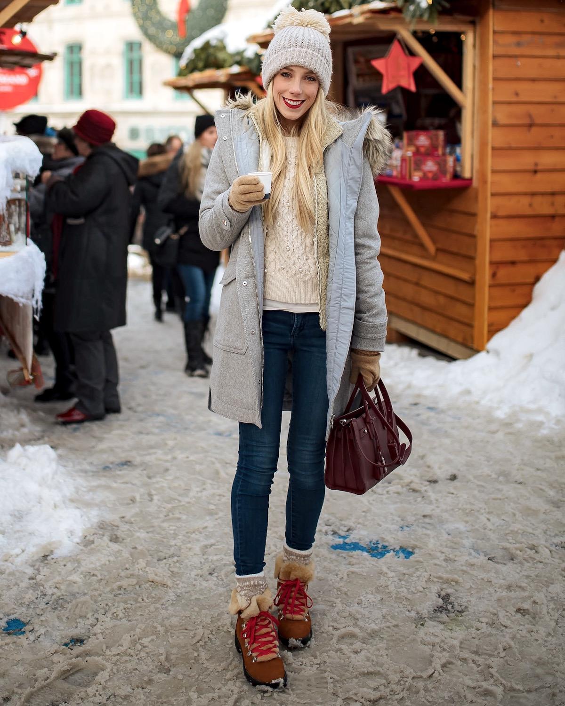 J Crew Nordic Boots Grey Faux Fur Trim Parka