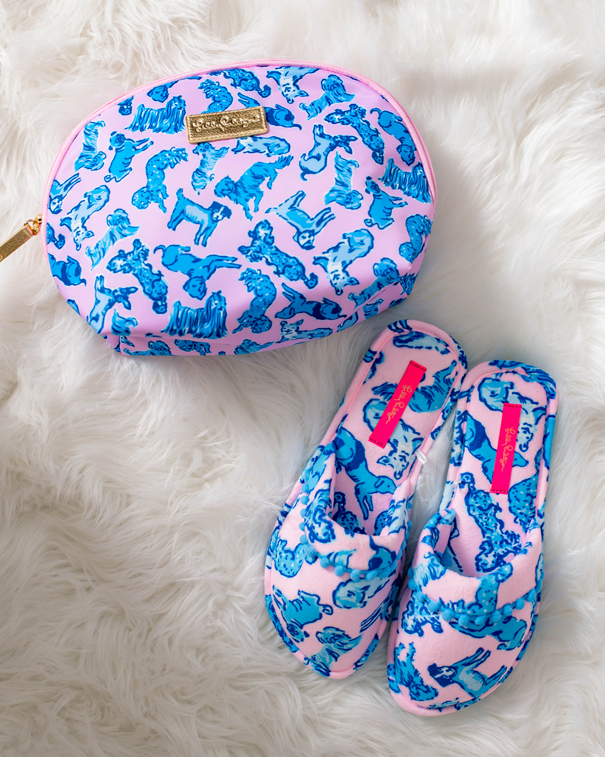 Lilly Pulitzer Ruff Night Dog Print Slippers