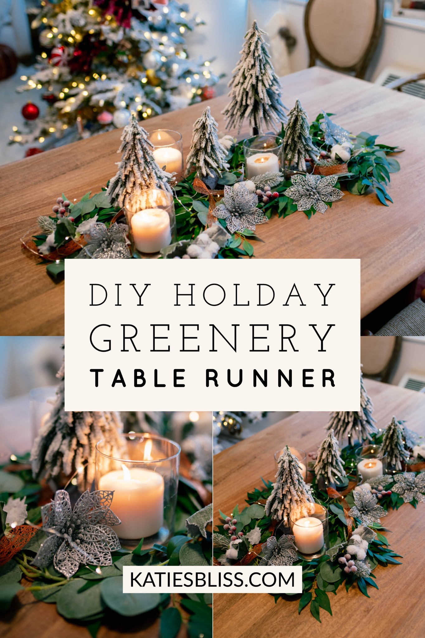 DIY Holiday Greenery Table Runner Garland