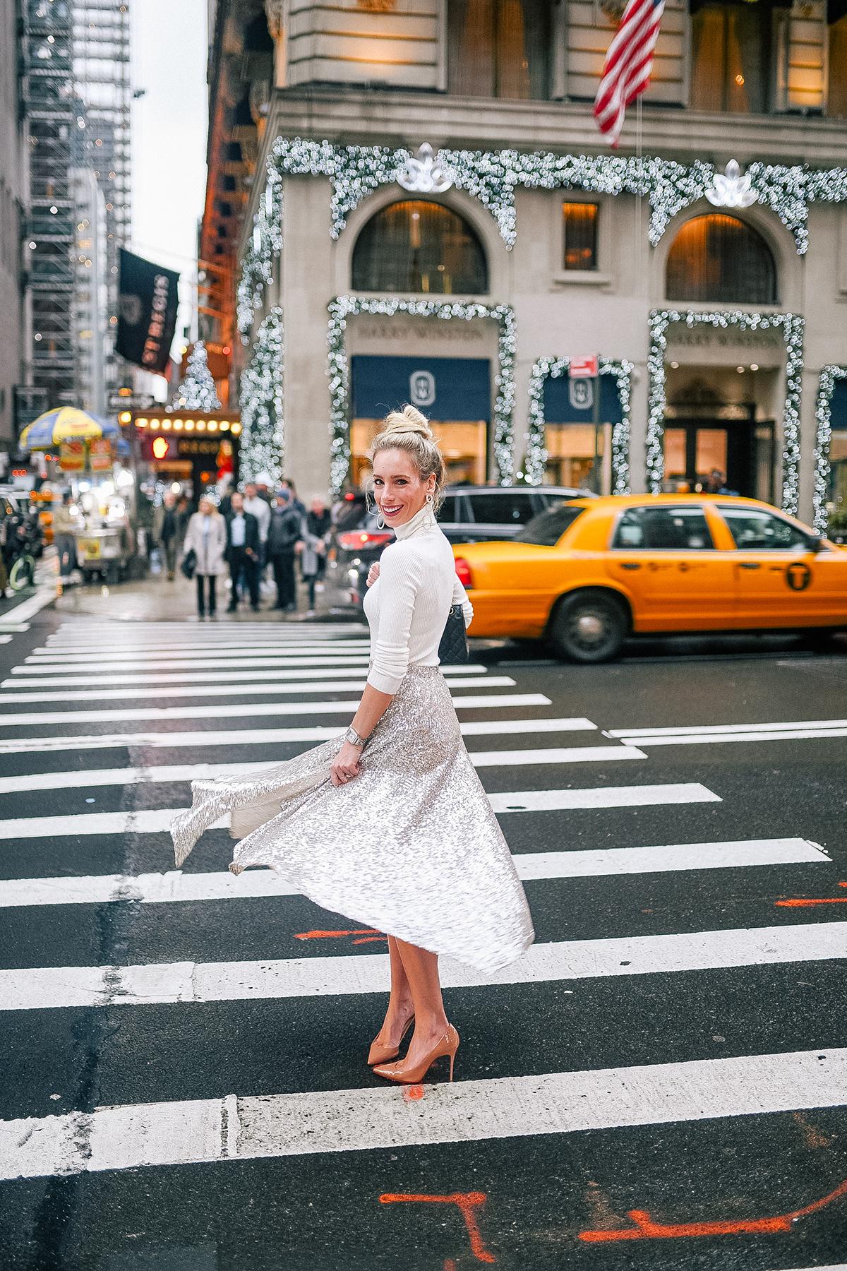 Silver Sequin Midi Skirt